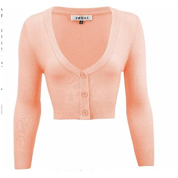 MAK V neck Cardigan Sweater Peach