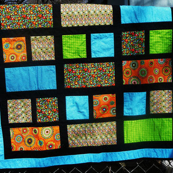 Modern Baby Quilt Color Block Boy Girl Orange Turquoise Lime Green Black - Stained Glass