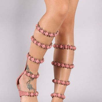 Suede Bullet And Button Accent Gladiator Flat Sandal