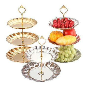 3 tier metal cake stand wedding, dessert cupcake stand for tea party serving platter