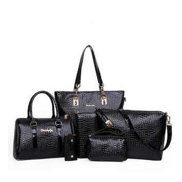 6 PCS/Set Women Handbag Crocodile Pattern Composite Bag Stone Women Messenger Bags Shoulder bag Purse Wallet PU Leather Handbags