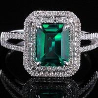 Emerald 5x7mm Cushion Shape, Pave Diamond ,Vintage Engagement Wedding Ring- 10K White Gold
