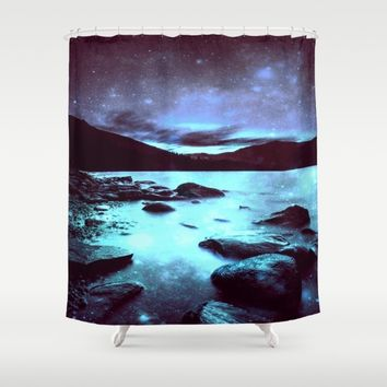 Magical Mountain Lake Violet Aqua Shower Curtain by 2sweet4words Designs