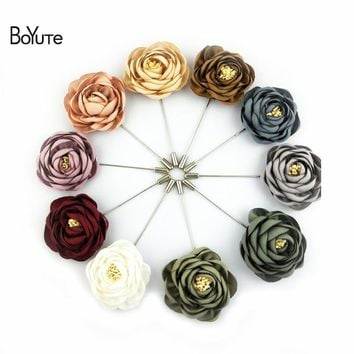 BoYuTe 10Pcs High Quality Fabric Flower Rose Brooch Lapel Pin Men Classic Wedding Boutonniere 17 Solid Colors