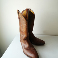Vintage Brown Leather Cowboy Boots, SALE