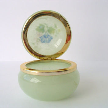 Green Vintage Alabaster Box - Hand Carved made in Italy - with Flowers
