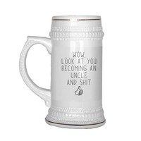 New Uncle Gift, Uncle To Be Beer Stein, Reveal to Uncle Funny Uncle Gift, Pregnancy Reveal, Baby Announcement, Gift from Sister, Baby Shower