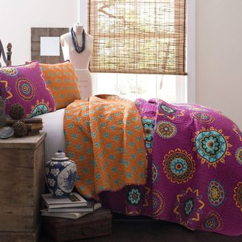 The Penelope Boho Bohemian Moroccan 3 PC Fuchsia Orange Bed Quilt SET