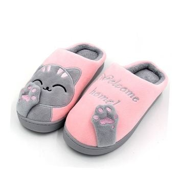 Women's winter home slippers cartoon cat home slip soft winter warm slippers indoor bedroom couple lovers floor shoes Large size