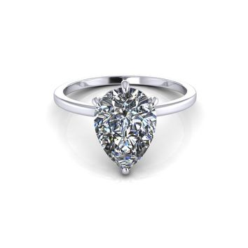 14K White Gold Solitaire Pear Moissanite Engagement Ring