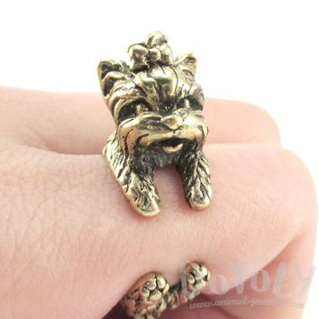 Yorkshire Terrier Dog Shaped Animal Wrap Around Ring in Brass | Sizes 5 to 8