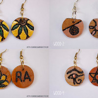 Pyrographed Wood Earrings - Burned Wood - Small Round earrings with diferent pattern on each side- Abstract earrings - Boho -Gypsy - Hippie