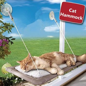 Sucker-style Cat Hammock Window Cat Basking Window Perch Cushion Sunny Dog Cat Bed Hanging Shelf Seat Great for Multiple Pet Cat
