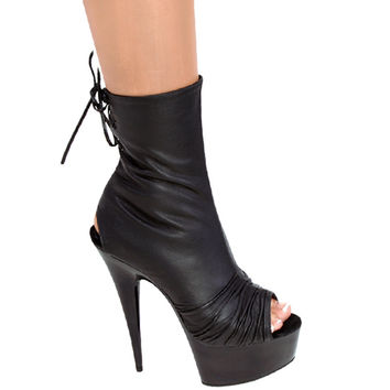 Leather Ankle Boots 6 inch heel With 2 inch platform