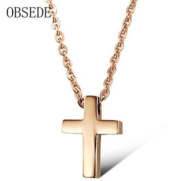 OBSEDE Trendy Religion Jesus Cross Choker Necklace Rose Gold/Silver Stainless Steel Pendant Necklaces for Women Jewelry 2017