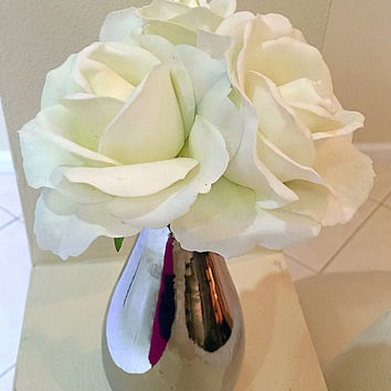 Real Touch White Roses in Metalic Silver Vase, Red Rose Centerpiece, Artificial Floral Arrangement, Wedding Flowers