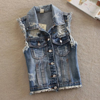 Women's Casual Vintage Sleeveless Ripped Denim Vest Outwear Jacket
