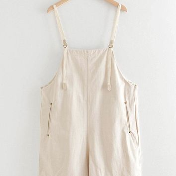 Pure Color Straps Vintage Overall Dresses