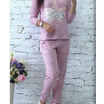 Red Letter Sequin Pockets Casual Long Jumpsuit