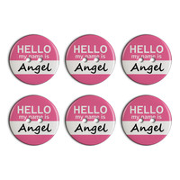 Angel Hello My Name Is Plastic Resin Button Set of 6