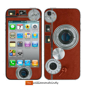 Iphone 5 4 4s Skin -  Hip Vintage Camera -decal sticker