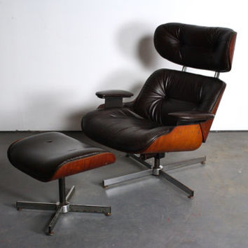 Mid Century Modern Lounge Chair and Ottoman by PLycraft