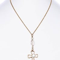 NECKLACE / CROSS / METAL WIRE PENDANT / PEARL / NATURAL STONE FINISH / MATTE FINISH / LINK / CHAIN / 16 INCH LONG / 3 INCH DROP / NICKEL AND LEAD COMPLIANT