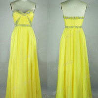 Sweetheart  Empire Floor-length Chiffon Evening Dress With Beadings