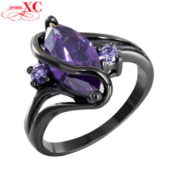 Charming S Amethyst Sapphire Vintage Jewelry Women Wedding Ring Anel Purple CZ Band 14KT Black Gold Filled Bridal Rings RB0047