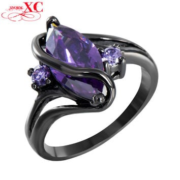 Charming S Purple Stone Vintage Jewelry Women Wedding Ring Anel Purple CZ Band 14KT Black Gold Filled Bridal Rings RB0047