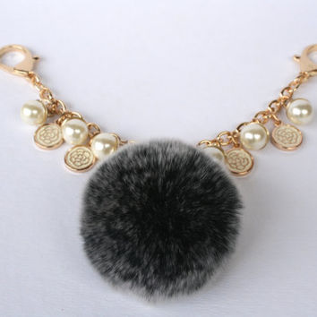 Fur pom pom keychain bag purse charm novelty accessory Rex Rabbit fur pom pom jewelry