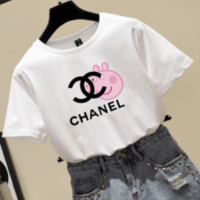 CHANEL & Pig Peggy new fashion letter t-shirt short-sleeved couple top White