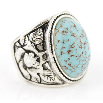 Vintage Retro Silver-tone Blue Natural Turquoise Stone Ring,Size 7