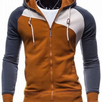 Three Color Accent Hooded Zippered Jacket
