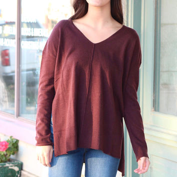 High Tide Side Slit Sweater {Eggplant}
