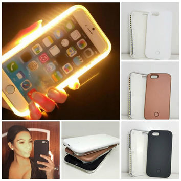 New Luxury Luminous Phone Cover LED Light Selfie Phone Case for iPhone 7 5s se 6 6S 6 Plus 6s plus + Gift Box