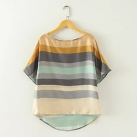 Women plus size color striped summer blouses camisas femininas Europen short batwing sleeve shirts casual loose tops DT170