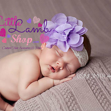 Lavender purple Baby Headband Mesh Lace Flower Head band, Baptism christening hair band, newborn girl headband photography props, Canada