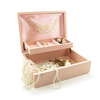 Pink Jewelry Box Vintage Leatherette White Gold Flowers