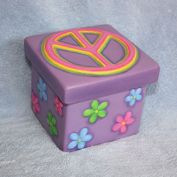 Handpainted Ceramic Rainbow Peace Sign and by FlutterbyConnections