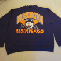 Vintage Amazing 80s WASHINGTON HUSKIES GRAPHIC College Seattle Athletic Sports Unisex Medium Warm Crewneck Sweatshirt