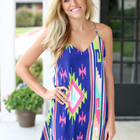 Be Yourself Aztec Dress - Royal Blue