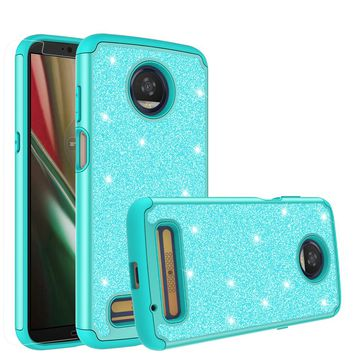Motorola Moto Z3 Play Case, Moto Z3 Play Glitter Bling Heavy Duty Shock Proof Hybrid Case with [HD Screen Protector] Dual Layer Protective Phone Case Cover for Motorola Moto Z3 Play - Teal