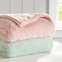Pastel Faux Fur Throw