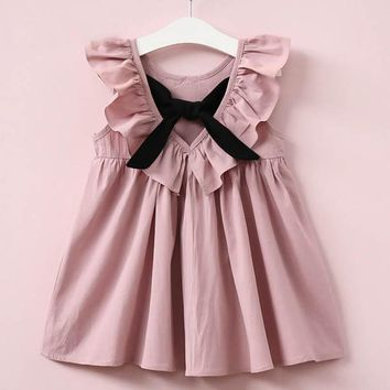 Oklady Summer 2017 New Casual Style Fashion Fly Sleeve Girls Bow Dress Girl Clothing For Children Cute Dresses