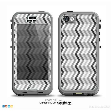 The Black and White Thin Lined ZigZag Pattern Skin for the iPhone 5c nüüd LifeProof Case