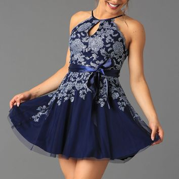 Teeze Me | Scallop Halter Glitter Mesh Party Dress | Navy