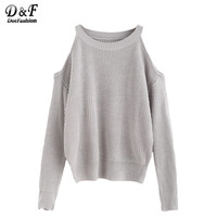 Dotfashion Fall Sweaters Women Ladies Pullover Sweaters Fall Winter Fashion for Women Grey Open Shoulder Knit Sweater
