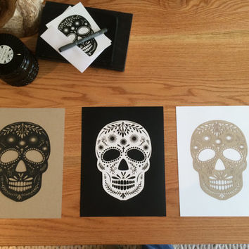 Halloween Sugar scull intricate Day of the Dead scull classy Halloween decoration laser cut mexican Art Decor