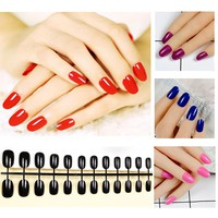 Fashion 24PCS Full false nails Candy Tips 10 Style Acrylic Artificial Nails Manicure Round fake nails With nail tab sticker
